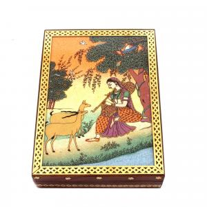 GEM STONE PANTING BOX LADY SITTING WITH DEER