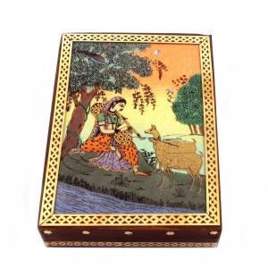 GEM STONE PANTING BOX SITTING LADY WITH DEER