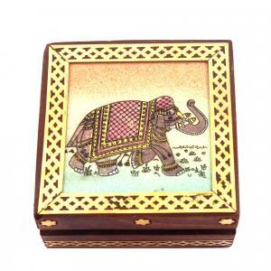 GEM STONE PANTING BOX ELEPHANT