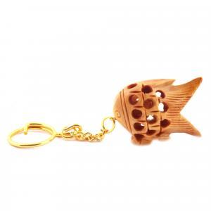 WOODENCARVING JALI KEY CHAIN FISH