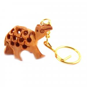 WOODENCARVING JALI KEY CHAIN  CAMLE
