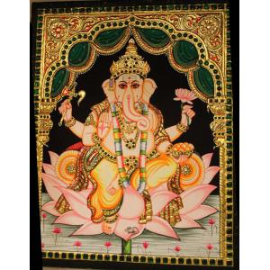 22ct Gold Handmade Lord Ganesha on Lotus Tanjore Painting