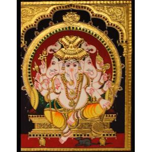 22ct Gold Lord Ganesha Panchamukhi/Five faces Tanjore Painting
