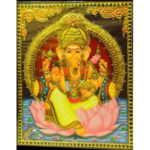 22ct Gold Handmade Lord Ganesha on Lotus Tanjore Painting