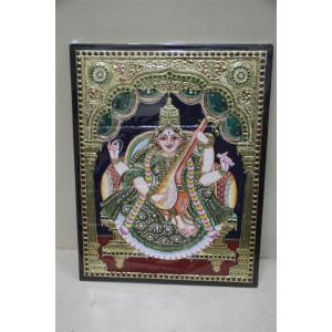 22ct Gold Handmade Goddess Saraswathi Tanjore Painting