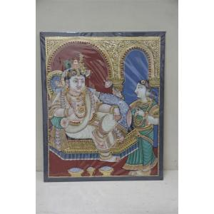 22ct Gold Handmade Lord krishna in Throne Tanjore Painting