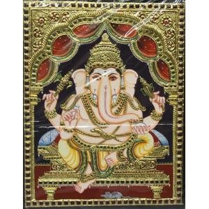 22ct Gold Handmade Lord Ganesha Tanjore Painting
