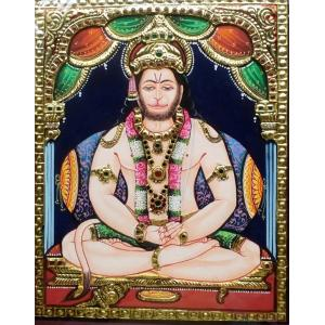 22ct Gold Lord Hanuman Meditating/Dhyana Tanjore Painting