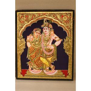 22ct Gold Handmade Lord Krishna Rukmani Tanjore Painting