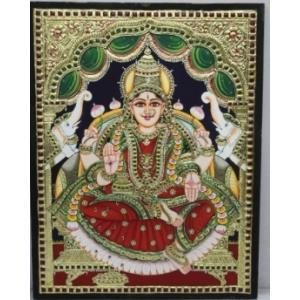22ct Gold Goddess Lakshmi Gaja Lakshmi Tanjore Painting