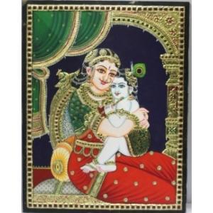 22ct Gold Handmade Lord Yasodha Krishna Tanjore Painting