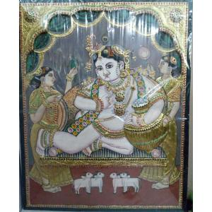 22ct Gold Handmade Lord Krishna Balakrishna Tanjore Painting