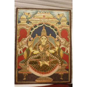 22ct Gold Handmade Goddess Lakshmi Gaja Lakshmi Tanjore Painting