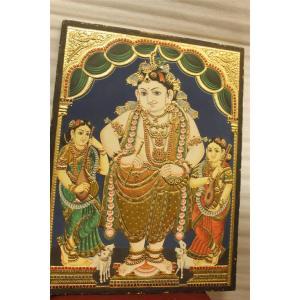 22ct Gold Lord Vitobha Krishna Bama Rukmani Tanjore Painting