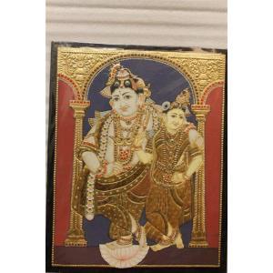 22ct Gold Lord Vitobha Krishna With Rukmani Tanjore Painting