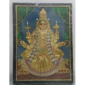 22ct Gold Goddess Lakshmi Vijaya Lakshmi Tanjore Painting