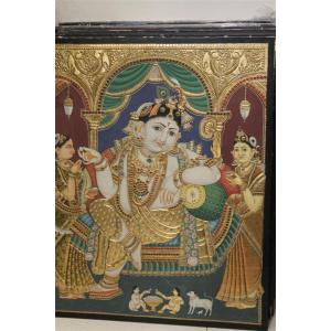 22ct Gold Lord Krishna in Palace Antique Tanjore Painting