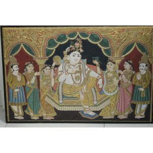 22ct Gold Handmade Lord Krishna in Mantap Tanjore Painting