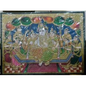22ct Gold Lord Krishna Swing With Family Tanjore Painting