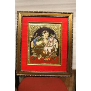 22ct Gold Handmade Lord Krishna in Yashoda Lap Tanjore Painting