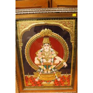 22ct Gold Handmade Lord Ayyappa Embosed Tanjore Painting