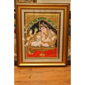 22ct Gold Handmade Lord Krishna Eating Butter Tanjore Painting