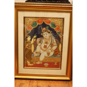 22ct Gold Lord Balakrishna Eating Butter Tanjore Painting