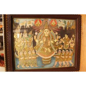 22ct Gold Handmade Goddess Lakshmi Adhi Lakshmi Tanjore Painting