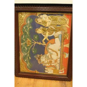22ct Gold Lord Krishna Yasodha Damodara Leela Tanjore Painting