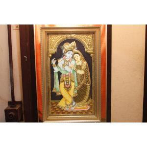 22ct Gold Handmade Lord Radha Krishna Tanjore Painting
