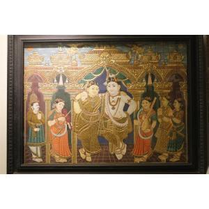 22ct Gold Lord Krishna in Rukmani Darbar Tanjore Painting