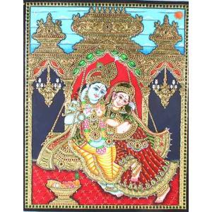 22ct Gold Handmade Lord Radha Krishna Swing Tanjore Painting