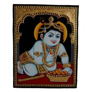 22ct Gold Handmade Lord Krishna Eating Laddu Tanjore Painting