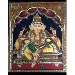22ct Gold Lord Ganesha Sitting in Mantap Tanjore Painting