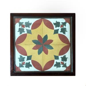 WOODEN TABLE WITH ATHANGUDI TILE FOR HOME DECOR