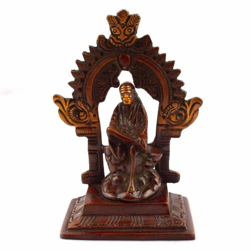 SAI BABA SITTING WITH ARCH COPPER