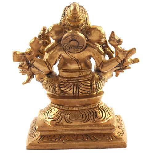 GANESHA 10 HANDS SITTING WITH SIDDHI BUDDHI