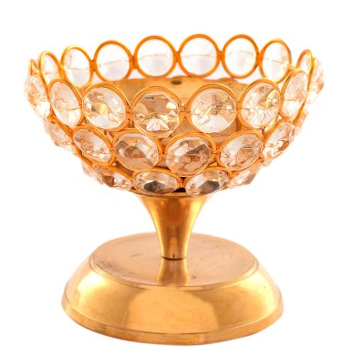BRASS DEEPA WITH CRYSTAL BOWL