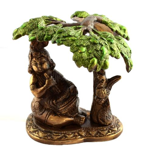 BRASS BUTTER KRISHNA WITH TREE