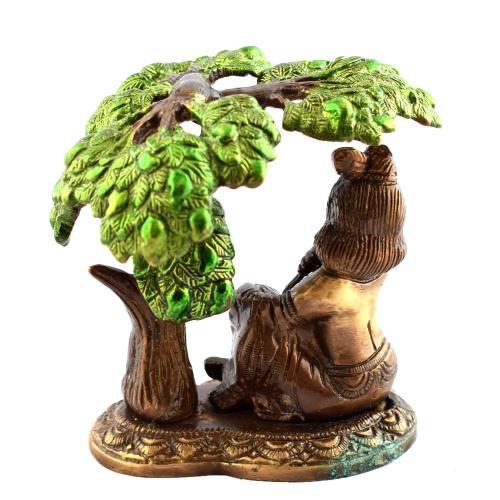 BRASS BUTTER KRISHNA WITH TREE