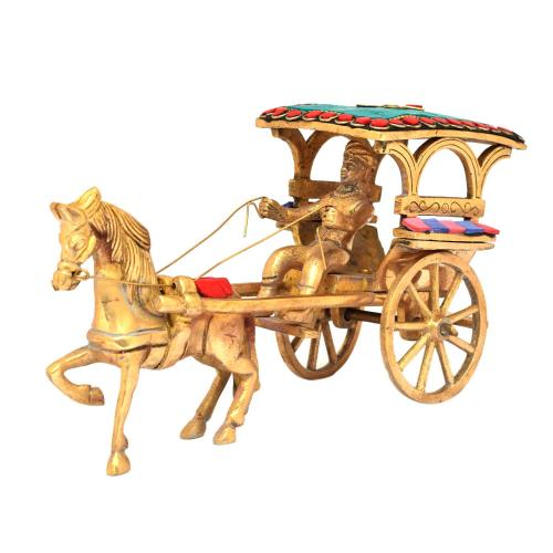 BRASS HORSE CART WITH STONE WORK