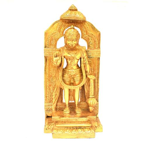 BRASS HANUMAN STANDING WITH PRABHAVALI