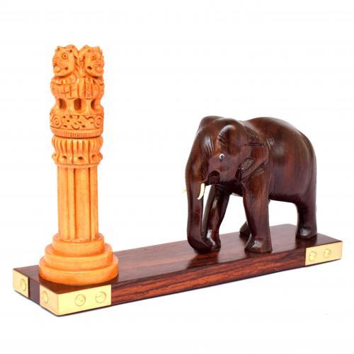 ROSEWOOD ELEPHANT WITH ASHOK PILLAR