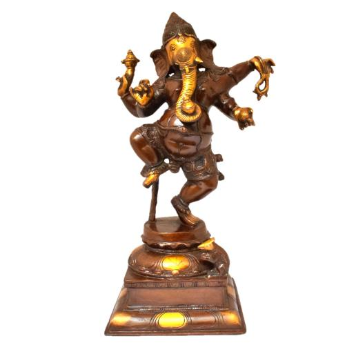 BRASS GANESHA STANDING ON SQ BASE