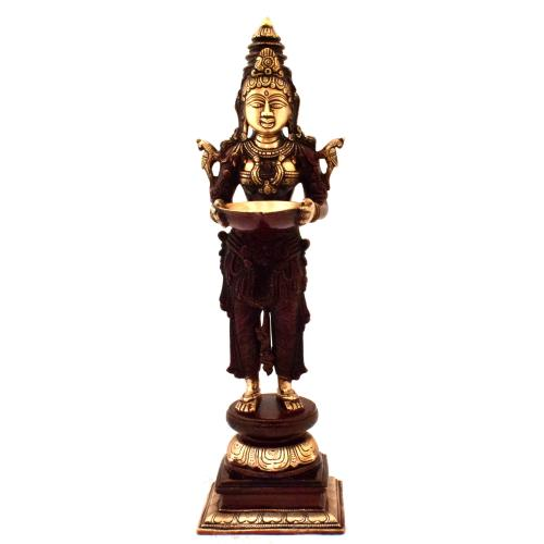 BRASS DEEPA LAKSHMI STANDING ON TRIPPLE BASE