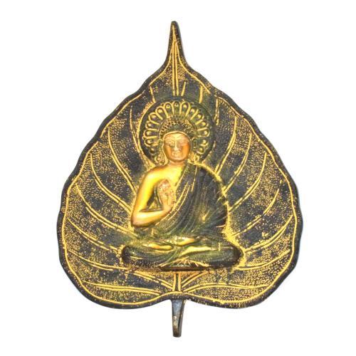 BRASS BUDDHA ON LEAF WALL HANGING