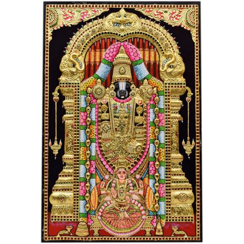 TANJORE PAINTING BALAJI LAKSHMI IN FOOT