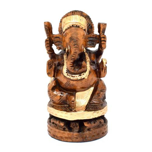 WOODEN GANESHA SITTING