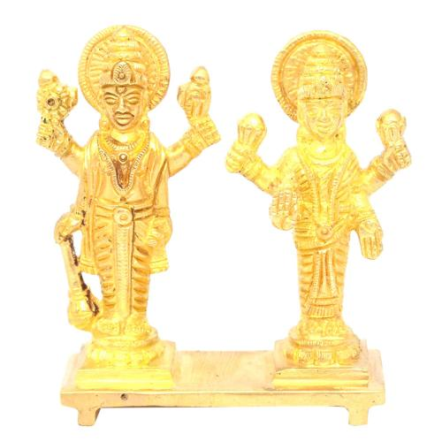 BRASS VISHNU LAKSHMI STANDING ON BASE