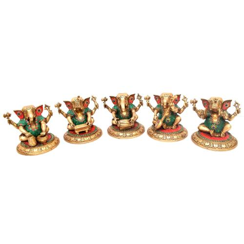 BRASS GANESHA MUSICAL SET OF 5 PCS